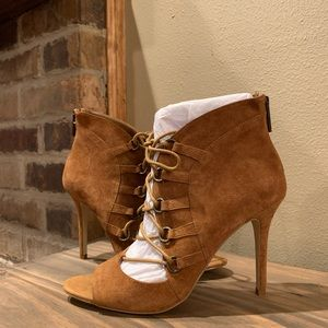 BCBGeneration suede open toe lace up high heels